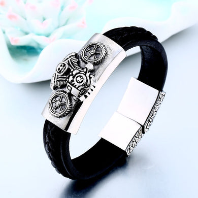 High Quality Leather Skull Biker Motorcycle Bracelet Bangle Party Jewelry BC-L002