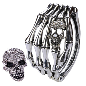 YACQ Skull Skeleton Hand Bracelet Ring Sets Bangle Biker Gothic Jewelry Gifts for Women Her Silver Color D08 Dropshipping
