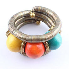 Load image into Gallery viewer, African Ethnic style Color ball Vintage Curved Stretch Cuff Bracelets Bangles Retro Snake Bracelet Women Classic Jewelry Gift