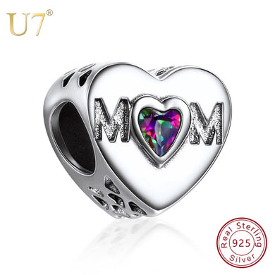 U7 Pure 925 Sterling Silver Mom Heart Big Hole Beads Fit Bracelet  & Bangles DIY Necklace Jewelry Making Mother Gift Charm SC153