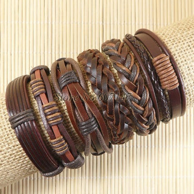 Vintage Tribal Bohemian Wood Beads Bracelet Boho Bracelet Cuff Men Leather Braclet Femme Male Wrist Band Handmade Jewelry-S51
