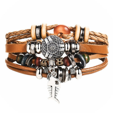 Multilayer Leather Bracelet Mixed Stone Bead Silver