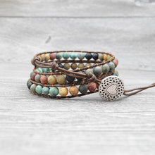Load image into Gallery viewer, DIEZI Drop Shipping Bohemian Leather Multicolor Bracelet Handmade Weave Multilayer Natural Stone Beads Wrap Strand Men Bracelets