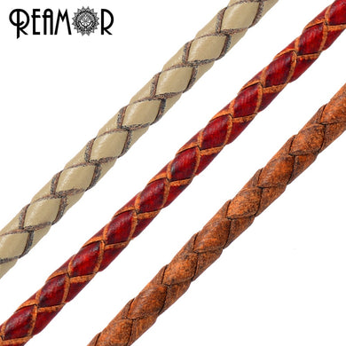 REAMOR 3mm Braided Round Genuine Leather Rope Bracelet Jewelry Making 1m Wholesale Lots Bulk