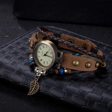 Beige Leather Floral Inprint Bracelet Classic Watch Bracelet