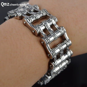 Exaggerate Stainless Steel Double Rows Line Motor Link jewelry Huge Heavy Men Gold Black Silver Motorcycle Biker Chain Bracelets