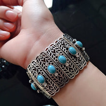 Load image into Gallery viewer, JIANXI  New statement brand fashion green  Bracelets&Bangles  bohemian style Silver Chain Stones Jewelry party  Gift holiday
