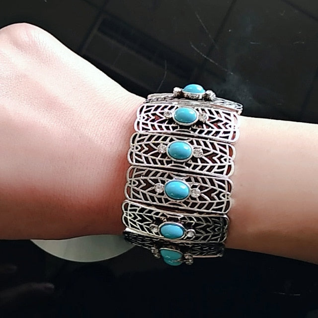 JIANXI  New statement brand fashion green  Bracelets&Bangles  bohemian style Silver Chain Stones Jewelry party  Gift holiday