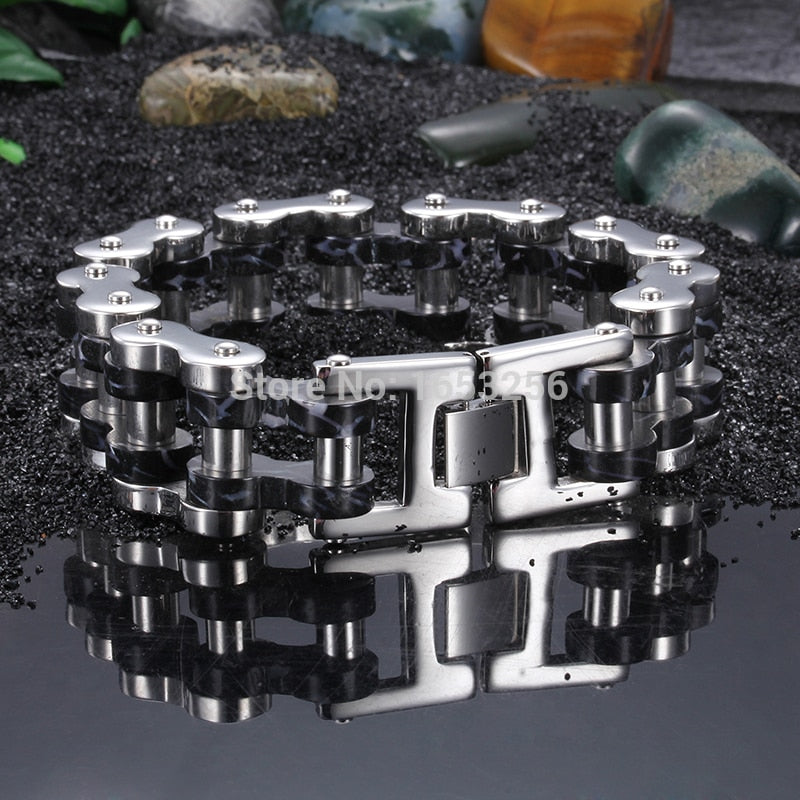 Top Selling 316L Stainless Steel Heavy Motorcycle Bike Link Chain Bracelet Black silver 24mm 9.2''