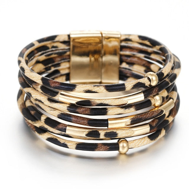Leopard Spot Leather Bracelets For Women Bracelets & Bangles 2019 Fashion Elegant Multilayer Wrap Wide Bracelet Jewelry