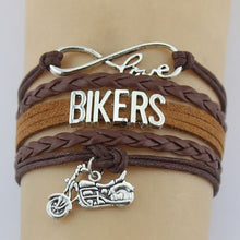 Load image into Gallery viewer, Bikers Bracelets Motorcycle Handmade Rope Leather Weave