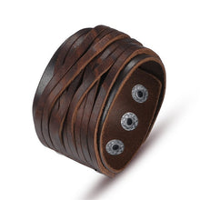 Load image into Gallery viewer, Handmade Fashion Wide Genuine Brown / Black Cuff Leather Bracelet & Bangles Braided Wristband Unisex Adjustable Men Jewerly