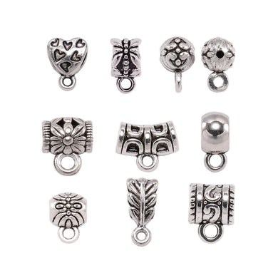 20pcs/lot Antique Silver Clip Bail Beads Pendant Clasp Necklace Connector Bail Beads For Diy Jewelry Making Bracelet Accessories