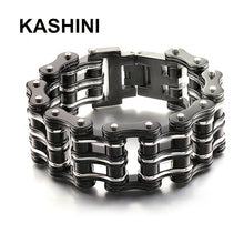 Load image into Gallery viewer, Stainless Steel Motorcycle/Bicycle Chain Purple Black Bracelets. Great Biker Bracelet