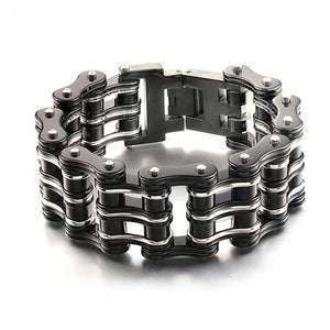 Stainless Steel Motorcycle/Bicycle Chain Purple Black Bracelets. Great Biker Bracelet