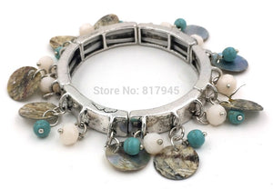 2015 New Euro Jewelry Wholesale Charm Bracelet shell bangles for women vintage antique silver bracelet