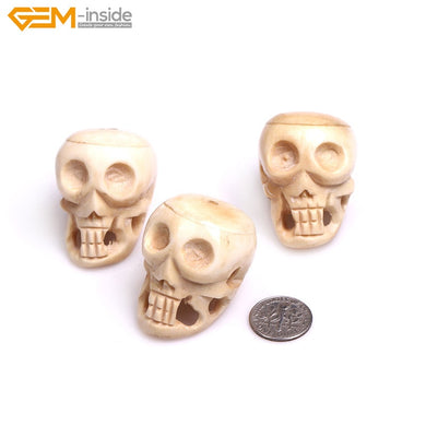 30x40mm  3 pcs Handmade White Tan  Carved Skull Large OX Bone Beads  Halloween Jewelry Making Bracelet Necklace DIY Bulk
