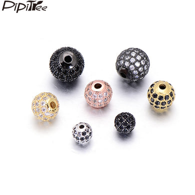 Pipitree 10pcs/lot Wholesale 6mm 8mm 10mm CZ Zircon Round Beads for Bracelet Necklace Jewelry Making DIY Spacer Beads Charms