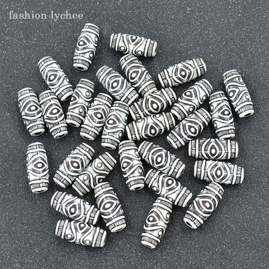Fashion lychee Tribal Totem Imitation Ox Bone Shuttle Shape Skull Charm Beads For Necklace DIY Jewelry Making Components