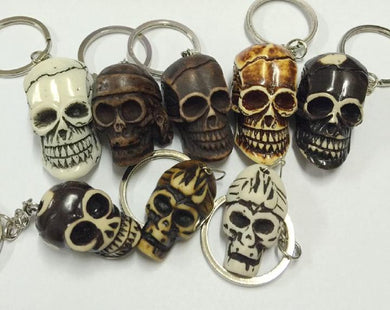 FREE SHIPPING 12 pcs Vintage Tribal Carved Mixed Devil Skull Head Biker Jewelry Keychain