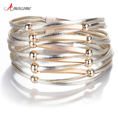 Amorcome Leather Bracelets For Women Metal Pipe Bead Charm Bracelets & Bangles Boho Multilayer Wide Bracelet Female Jewelry
