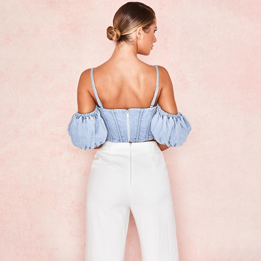 Denim Ruffle Crop Top - LUX NOIRE