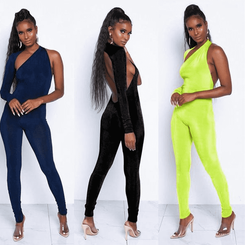 Neon Backless Jumpsuit - LUX NOIRE