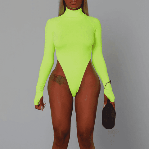Mock Turtleneck Bodysuit - LUX NOIRE