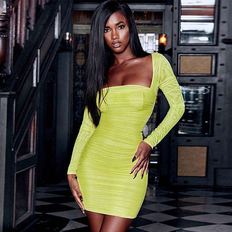 Neon Bodycon Dress - LUX NOIRE