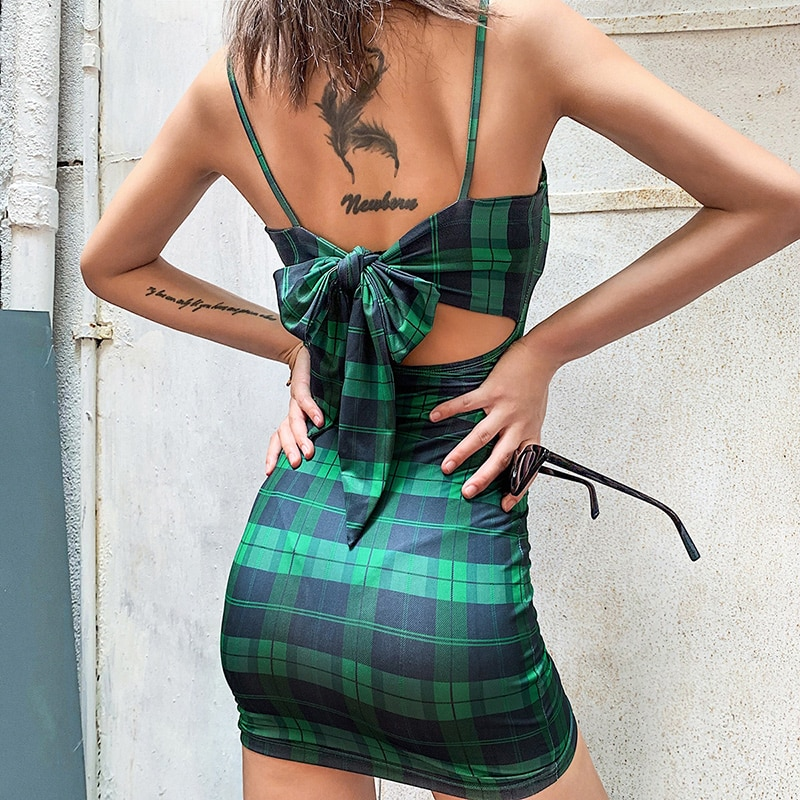 Plaid Bow Dress - LUX NOIRE