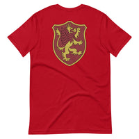 Crimson Lion Front and Back Short-Sleeve Unisex T-Shirt