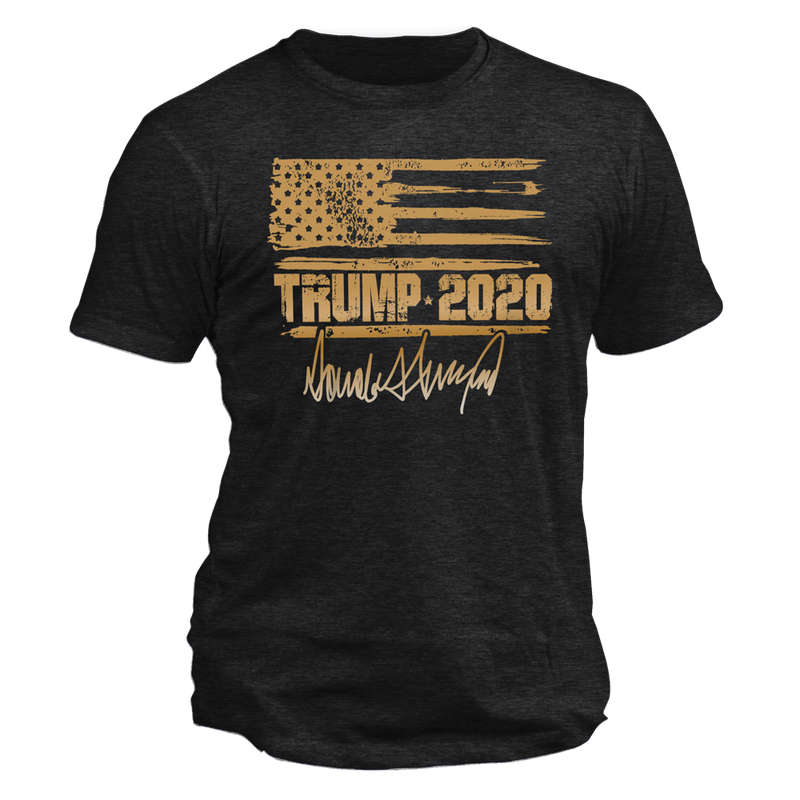 Trump 2020 Distressed Flag Signature Tee
