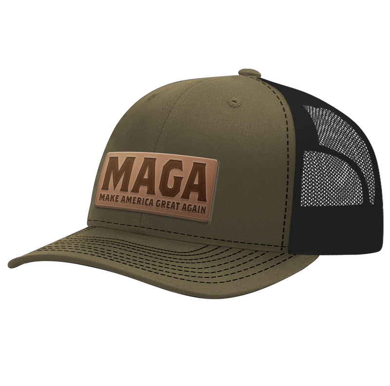 Leather Patch MAGA Hat