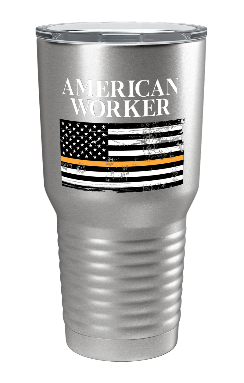 American Worker Thin Orange Line Color Printed Tumbler