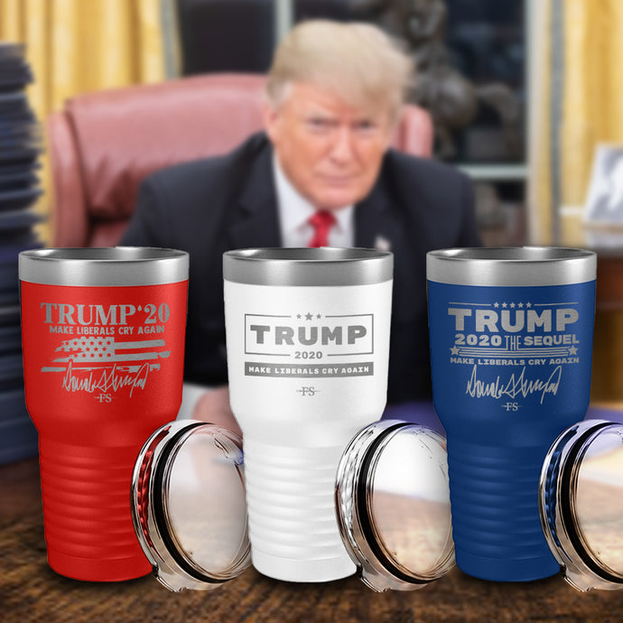 Autographed Presidential Collection Laser Etched Tumblers (3 Pack) Red/White/Blue - RESTOCKED