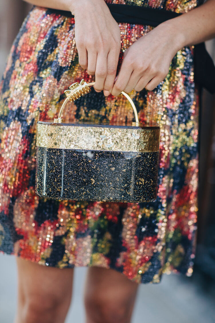 Gold and Black Trunk Clutch