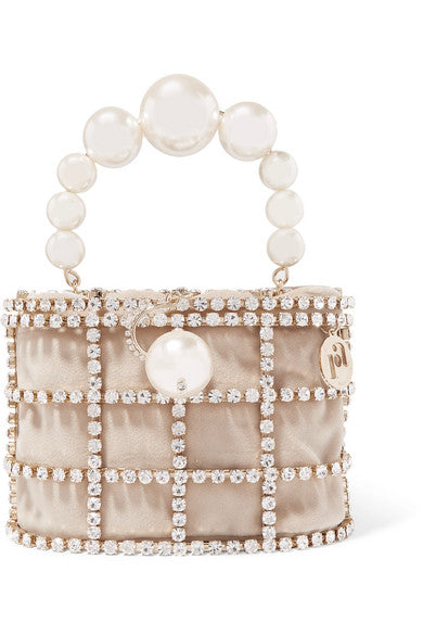 Holli embellished gold-tone and velvet tote