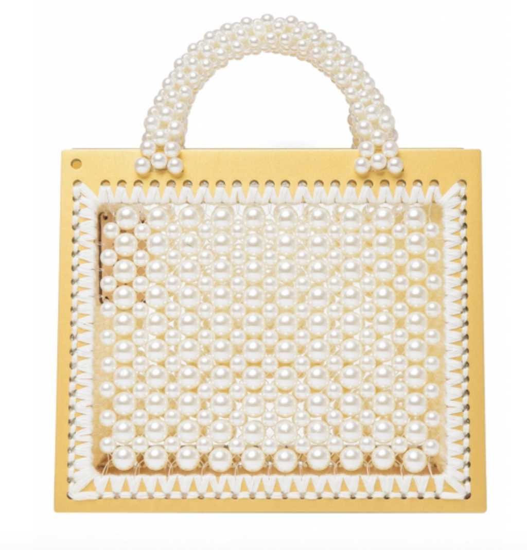 Large St. Barts Purse with Yellow Frame