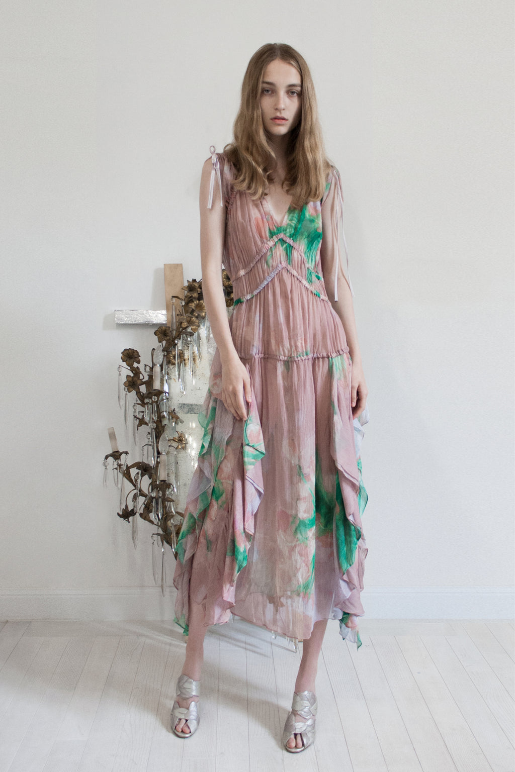 Gathered Printed Crepe Dress