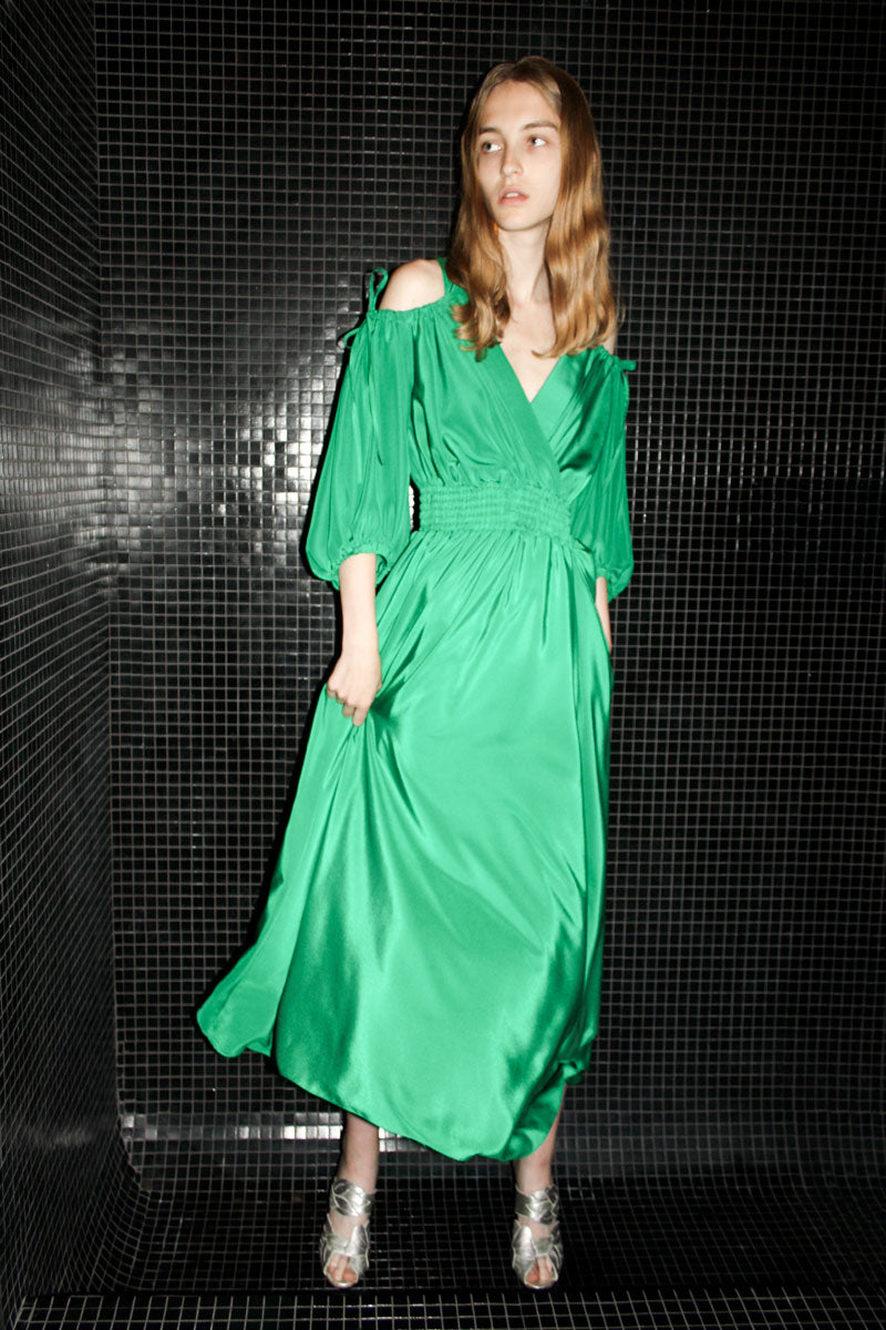 Gathered Emerald Dress