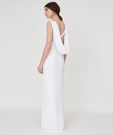 White gown with cowl back Outline