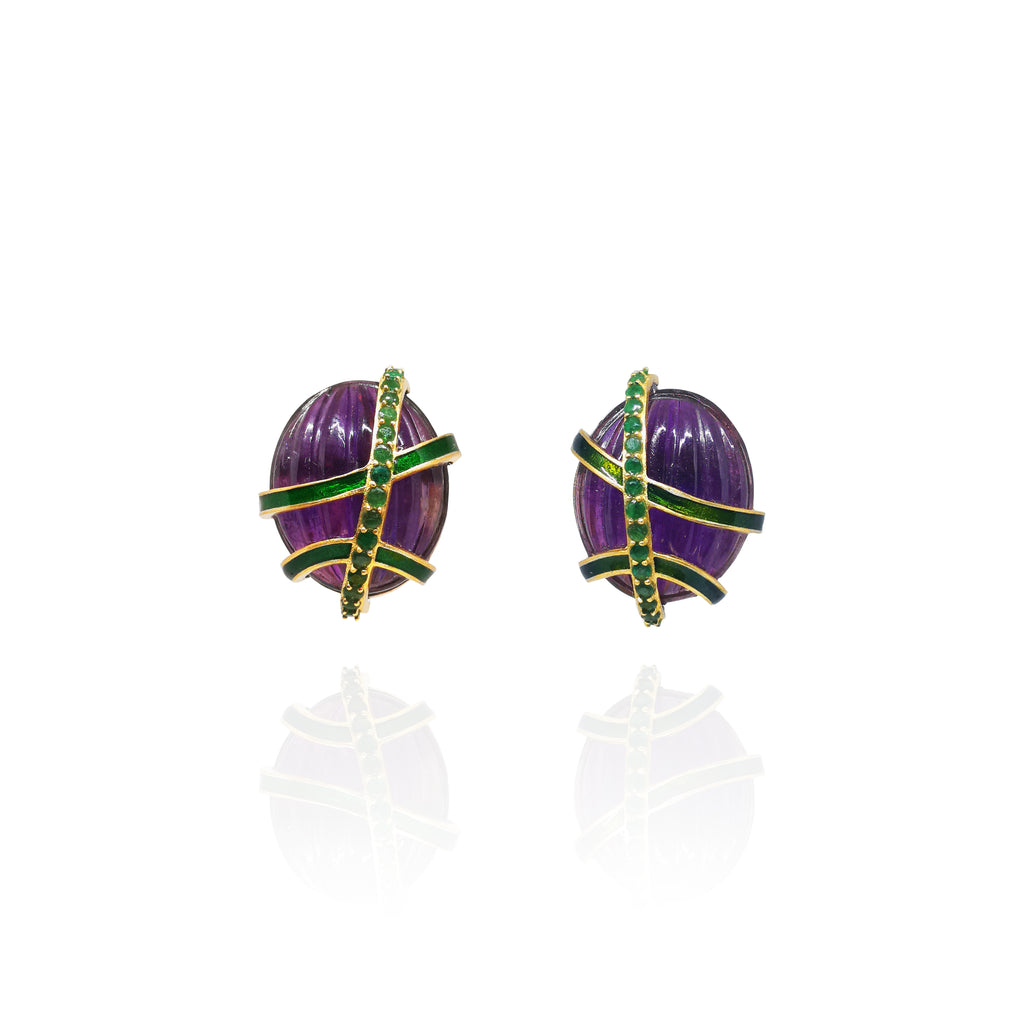 Amethyst with Emerald Earrings