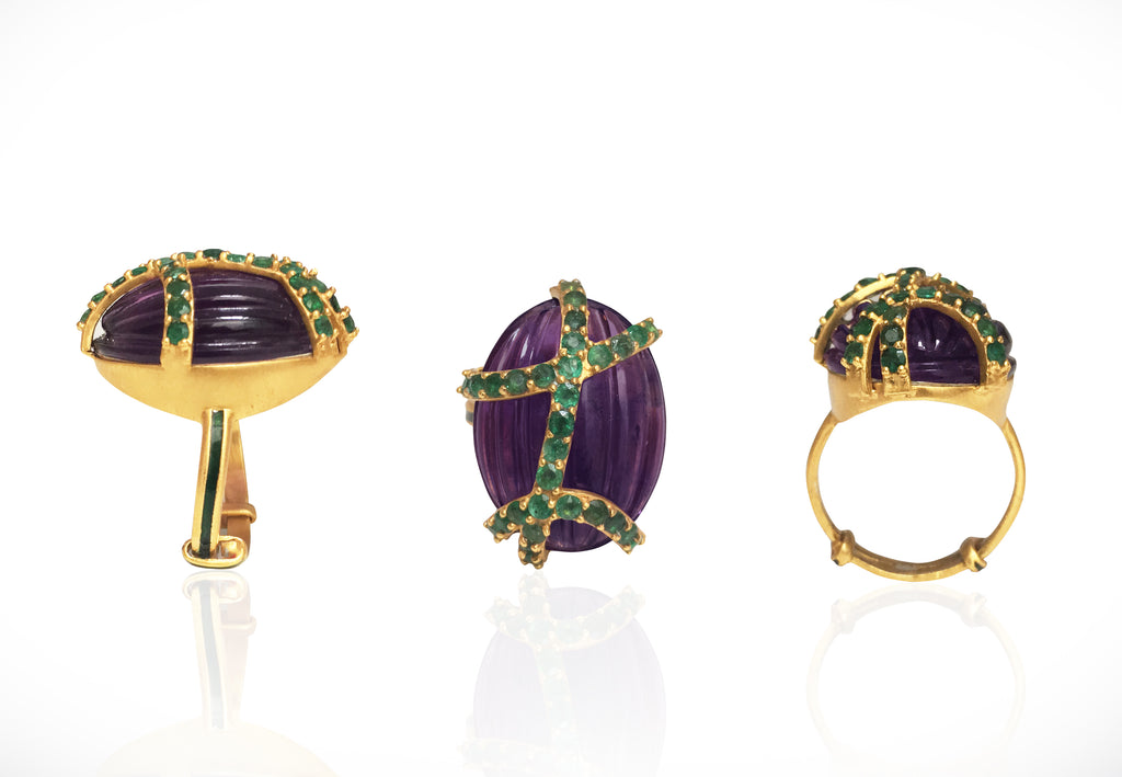Amethyst and Emerald Ring with green enamel band