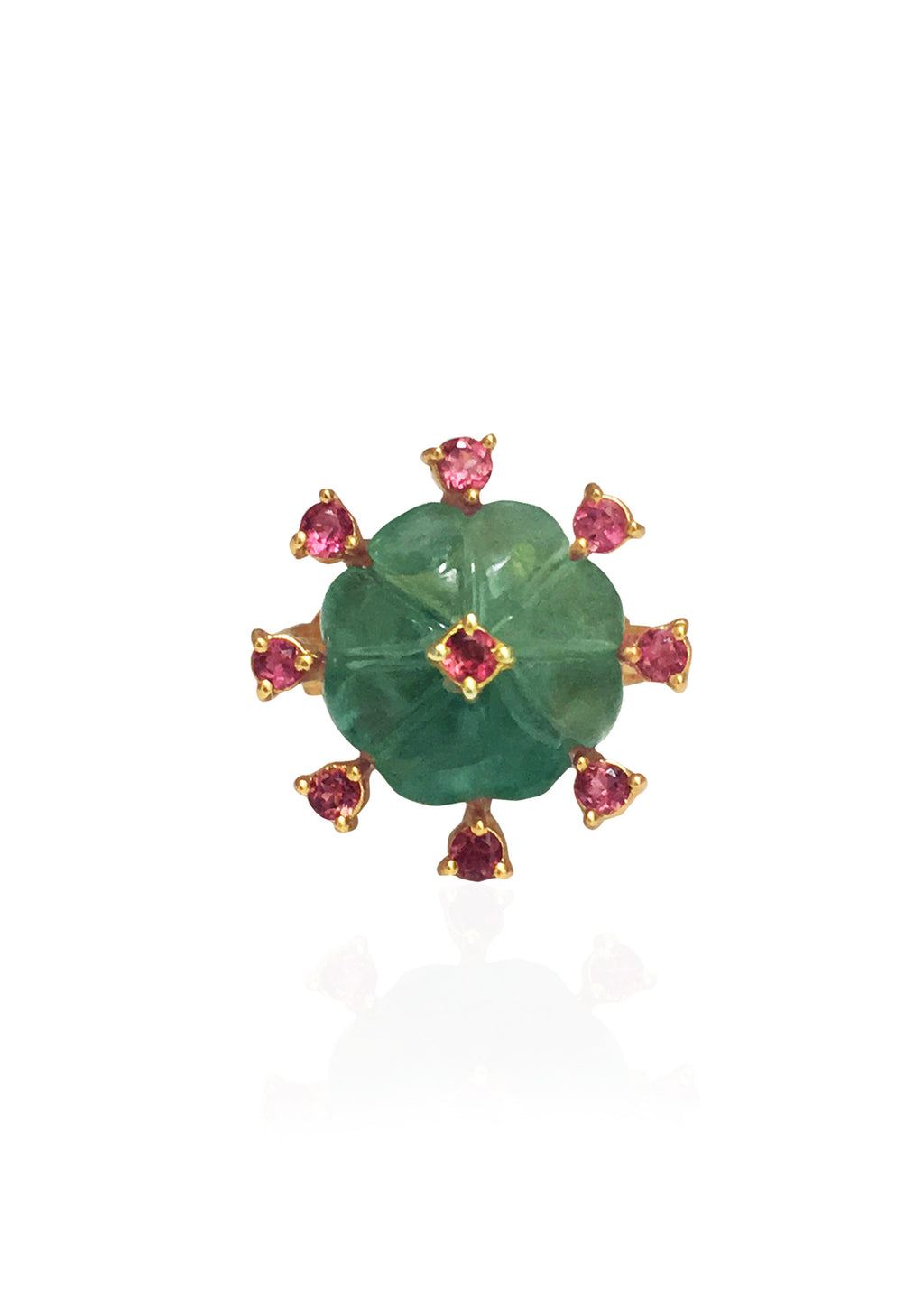 Fluorite and Tourmaline Ring with a dark pink enamel band