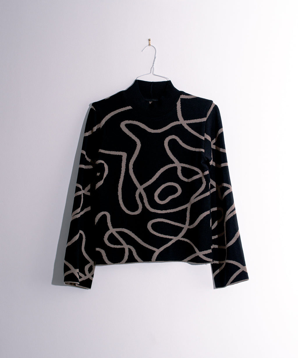 Reversible Jacquard Knit Jumper Black/Brown