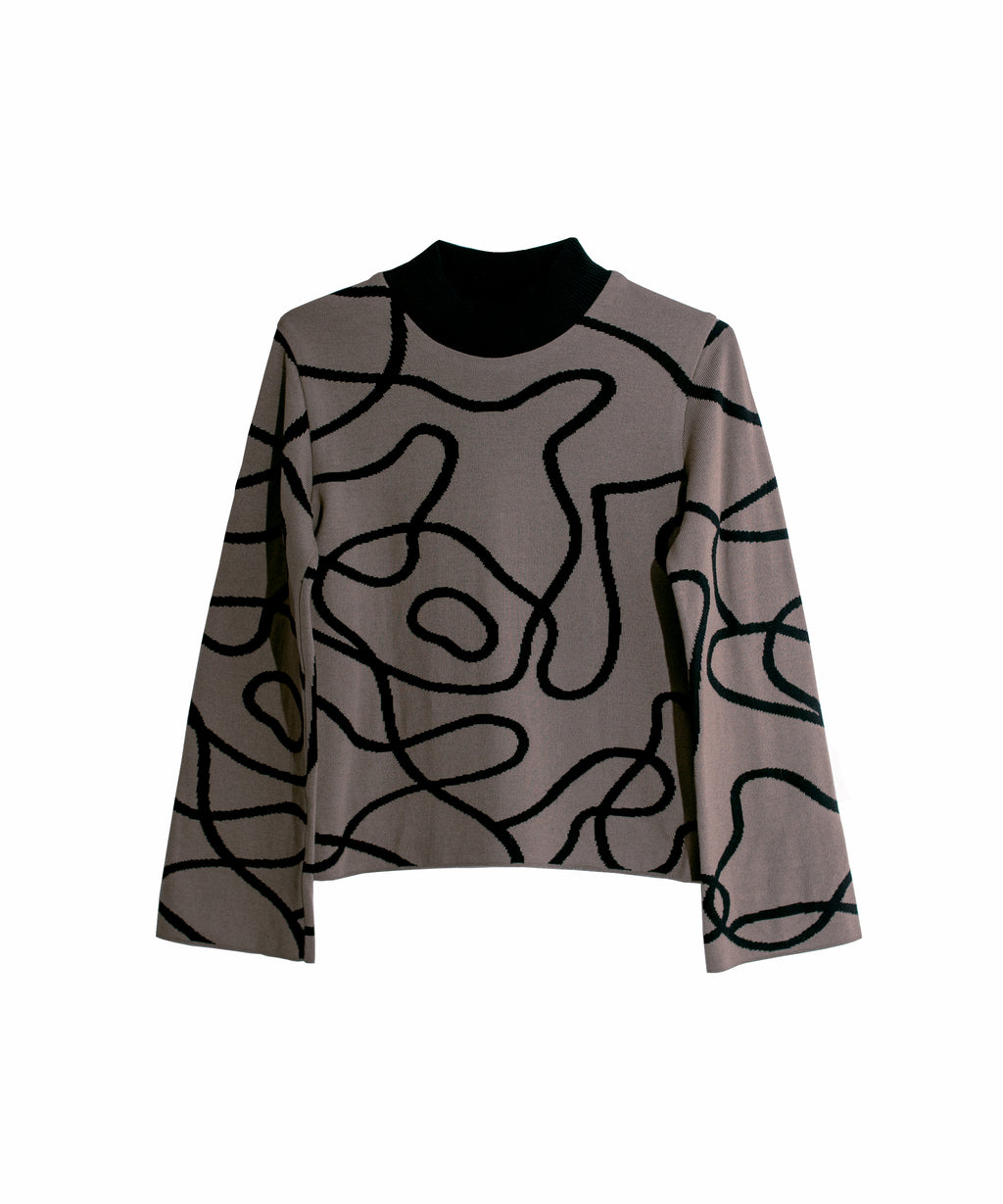 Reversible Jacquard Knit Jumper Brown/Black