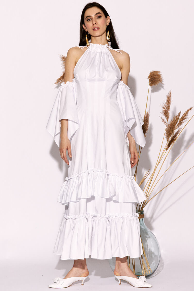 Menga White Long Dress