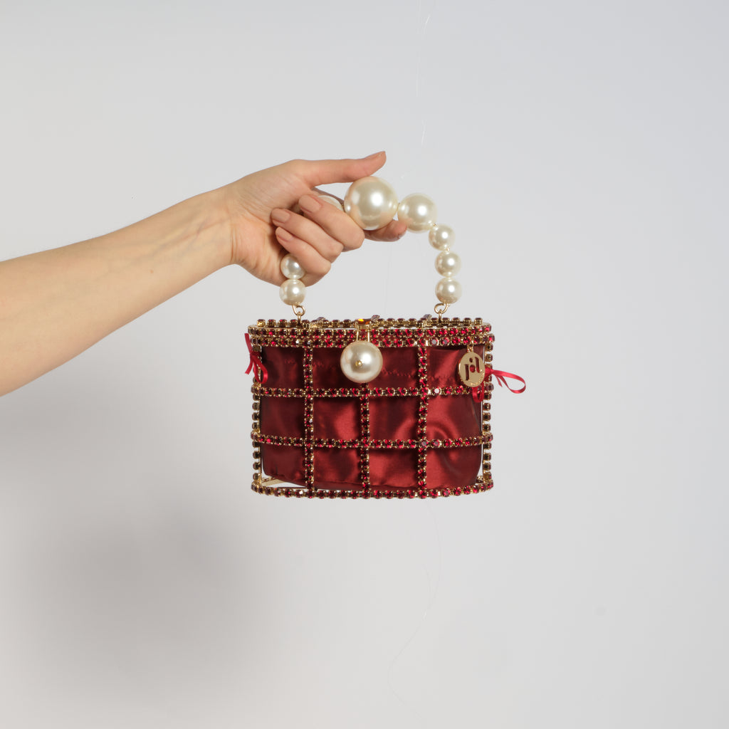 Holli Crystal-Embellished Cage Clutch Burgundy