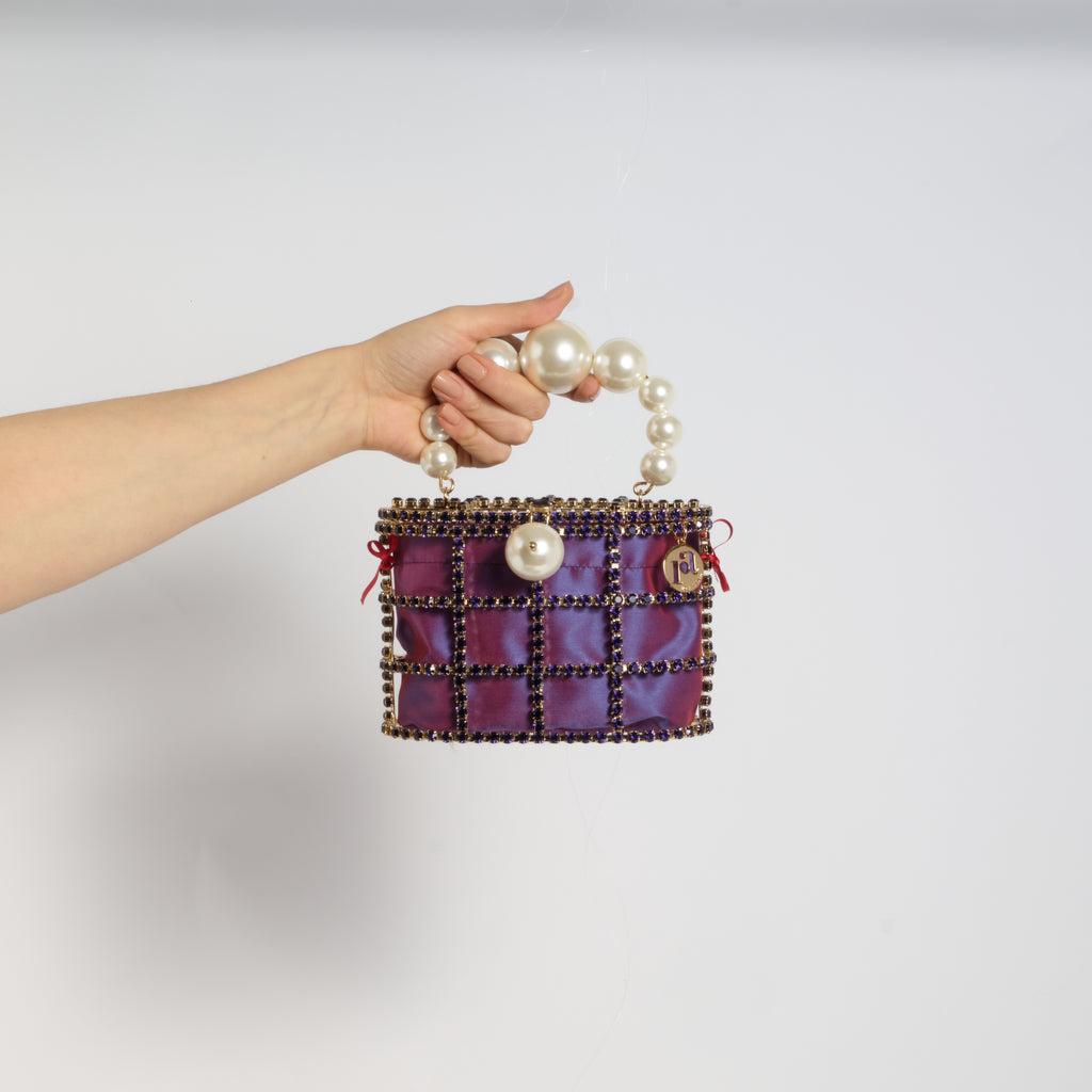 Holli Crystal-Embellished Cage Clutch Purple