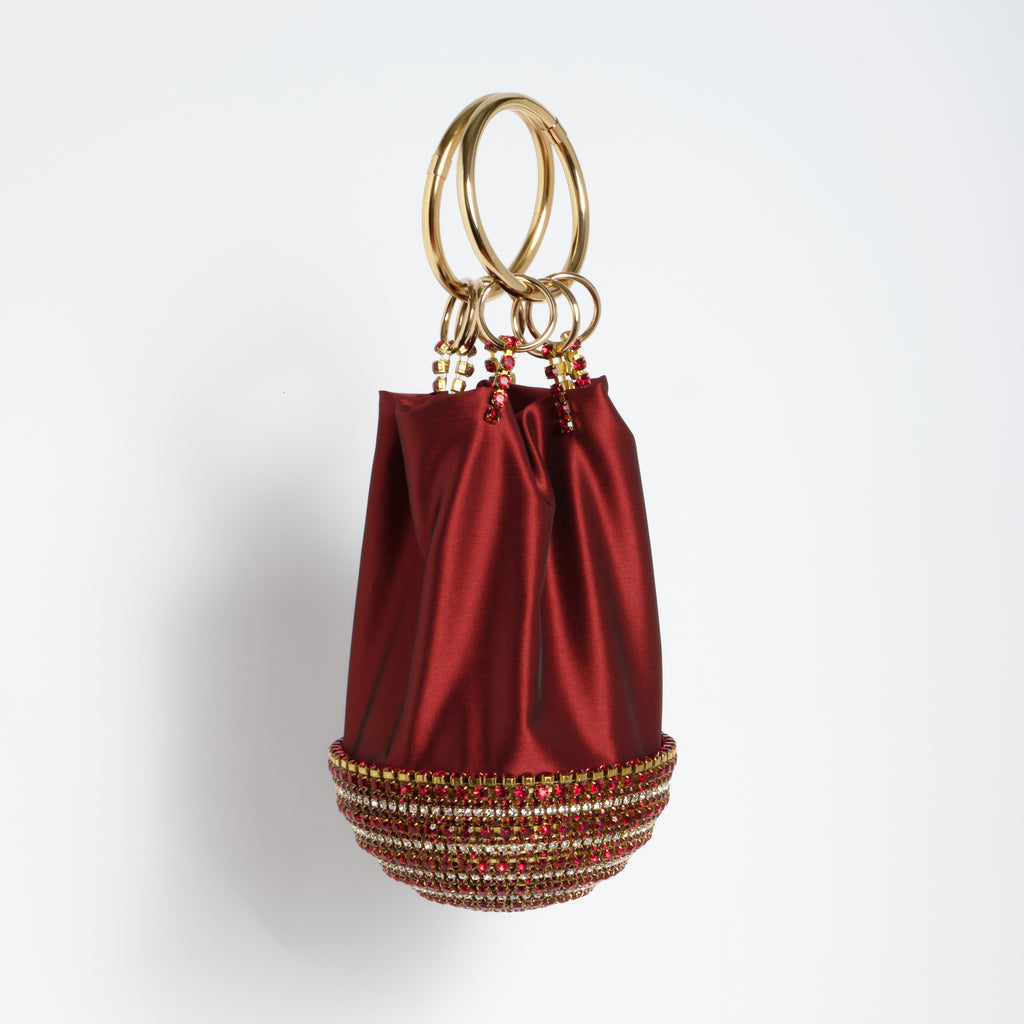 Ghizlan Embellished Bag in Burgundy